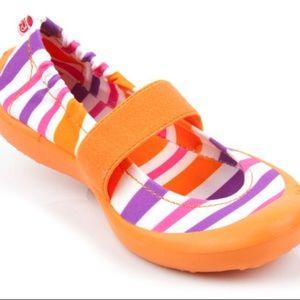 Toddler orange stripe waterproof slip on shoes
